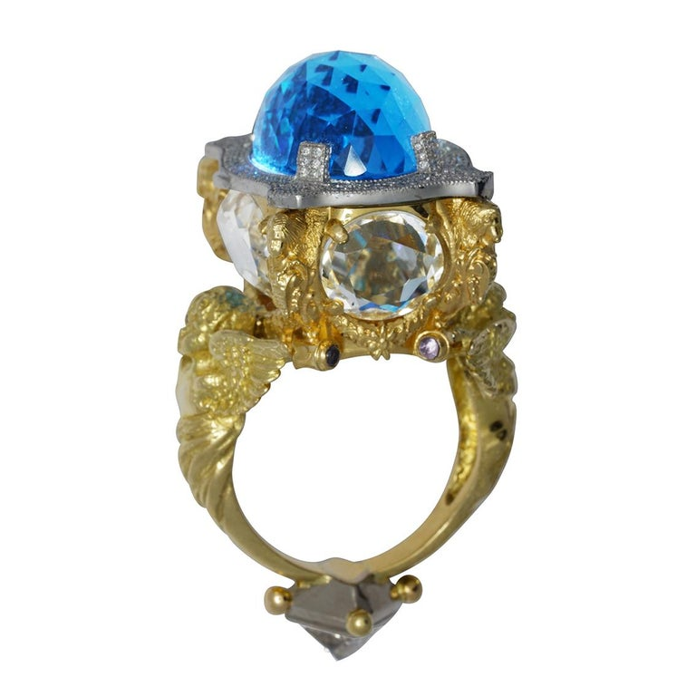 Gothic Revival Blue Topaz and Diamond Chamber Ring