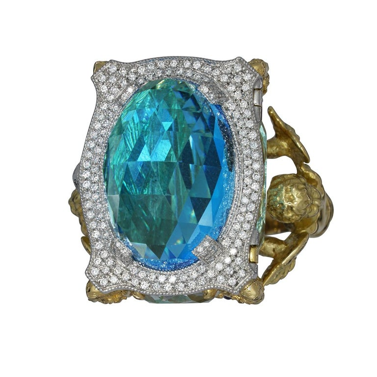 Blue Topaz and Diamond Chamber Ring In New Condition In Fitzroy, AU