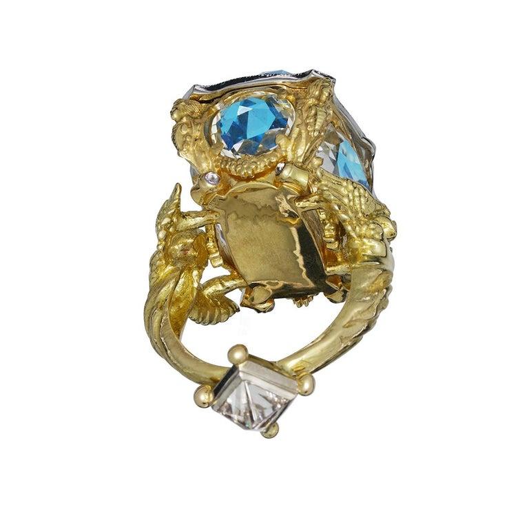 Women's or Men's Blue Topaz and Diamond Chamber Ring
