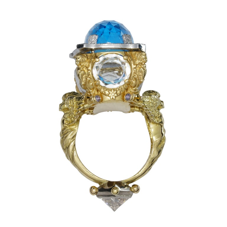 Blue Topaz and Diamond Chamber Ring 1