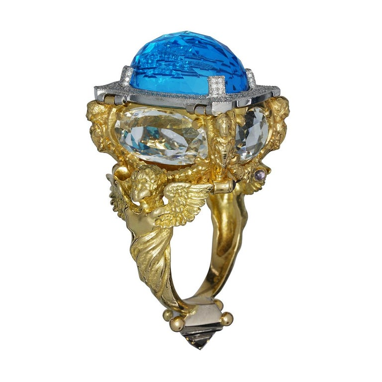 Blue Topaz and Diamond Chamber Ring 2