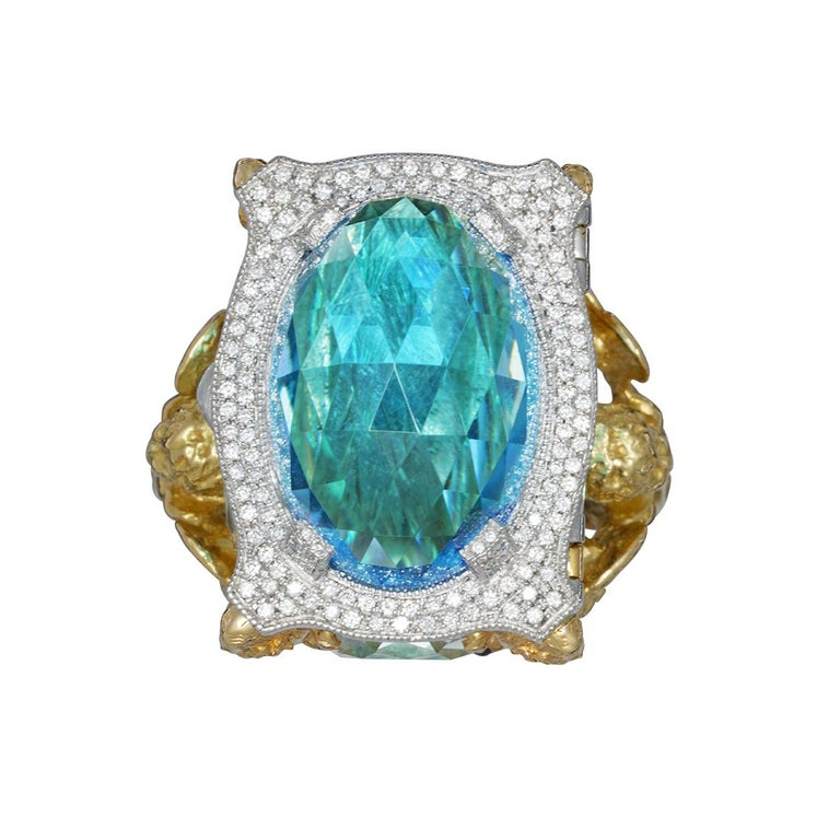 Blue Topaz and Diamond Chamber Ring 3