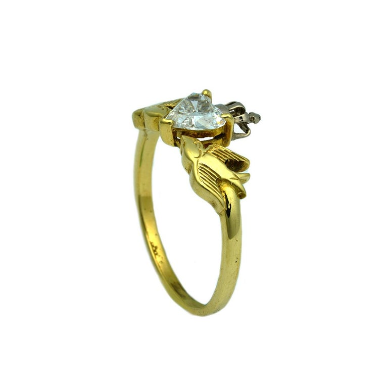 Contemporary William Llewellyn Griffiths Diamond Crowned Heart and Swallows Ring For Sale