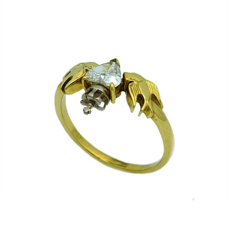 William Llewellyn Griffiths Diamond Crowned Heart and Swallows Ring In New Condition For Sale In Fitzroy, AU