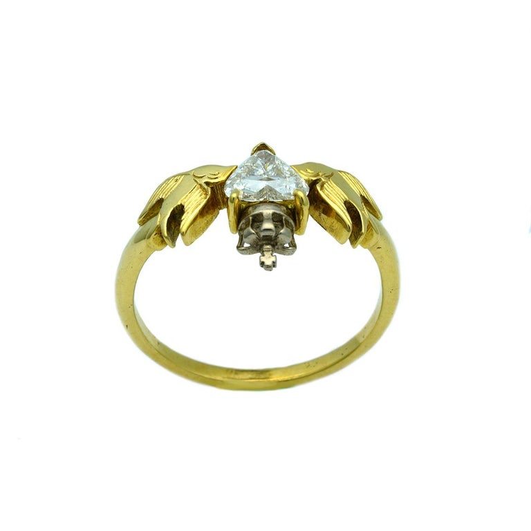Women's William Llewellyn Griffiths Diamond Crowned Heart and Swallows Ring For Sale