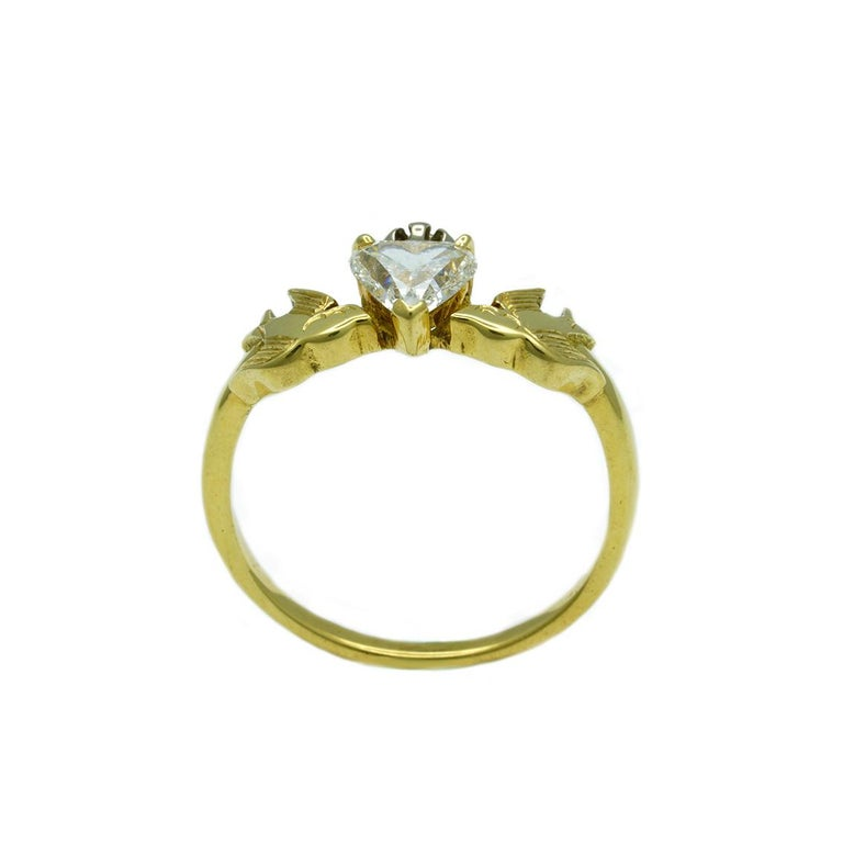 William Llewellyn Griffiths Diamond Crowned Heart and Swallows Ring For Sale 1