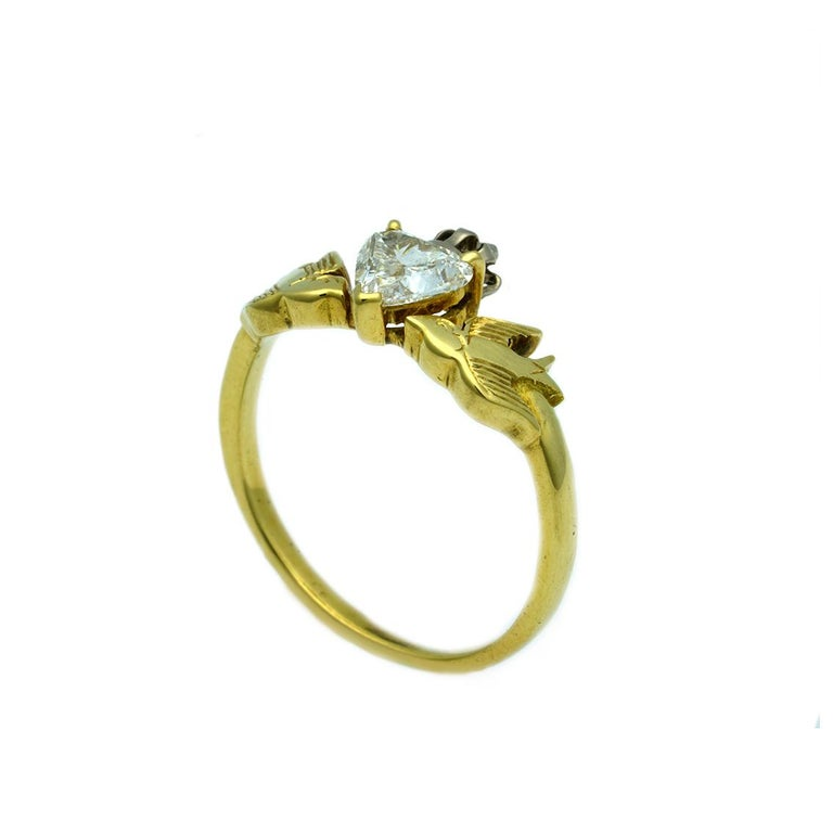 William Llewellyn Griffiths Diamond Crowned Heart and Swallows Ring For Sale 2
