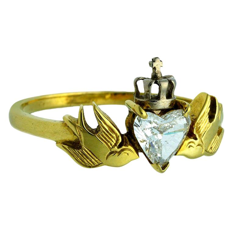 William Llewellyn Griffiths Diamond Crowned Heart and Swallows Ring For Sale