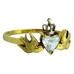 William Llewellyn Griffiths Diamond Crowned Heart and Swallows Ring