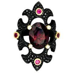 William Llewellyn Griffiths Diamond, Ruby and Garnet Eleusinian Princess Ring