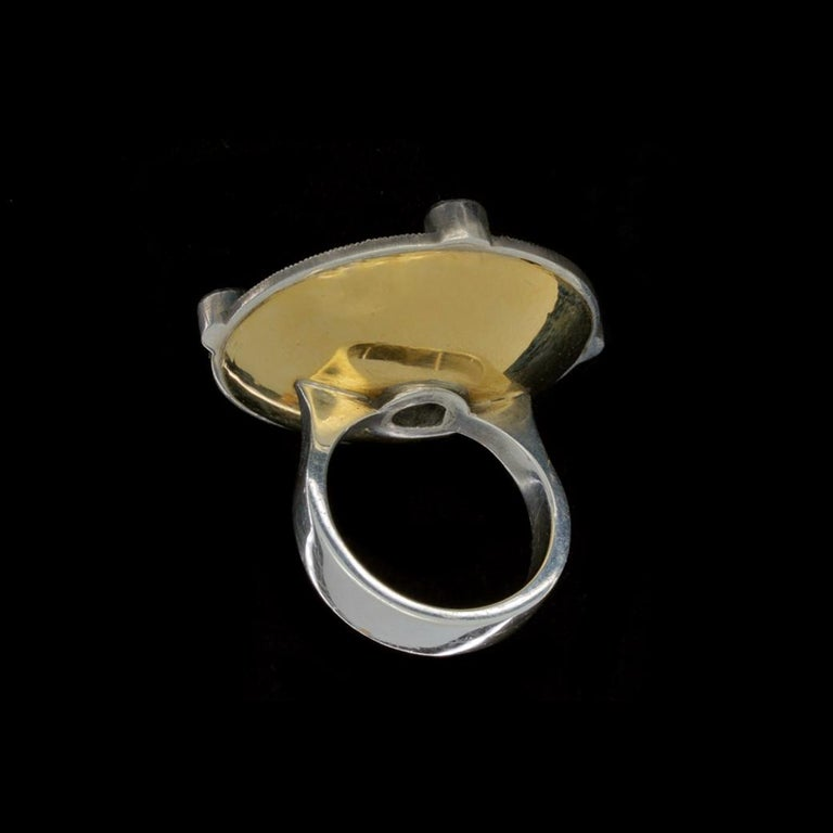 Rouge Disc Ring 18 Karat Gold Sterling Silver Diamonds Sapphires Garnets For Sale 3