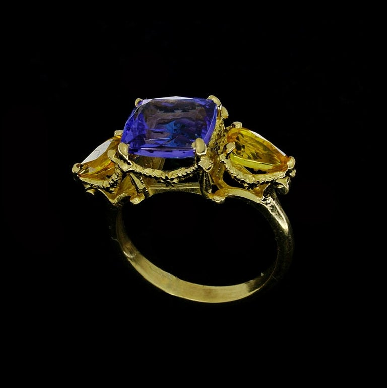 William Llewellyn Griffiths Tanzanite and Yellow Sapphire Starry Night Ring For Sale 1