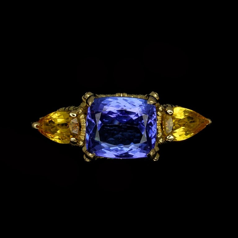 William Llewellyn Griffiths Tanzanite and Yellow Sapphire Starry Night Ring For Sale 2