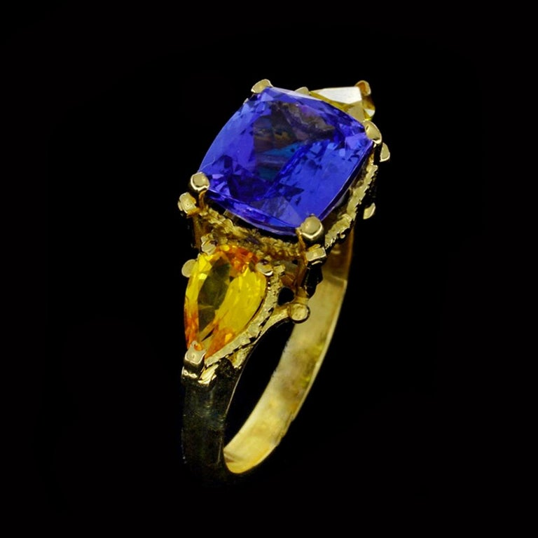William Llewellyn Griffiths Tanzanite and Yellow Sapphire Starry Night Ring For Sale 3