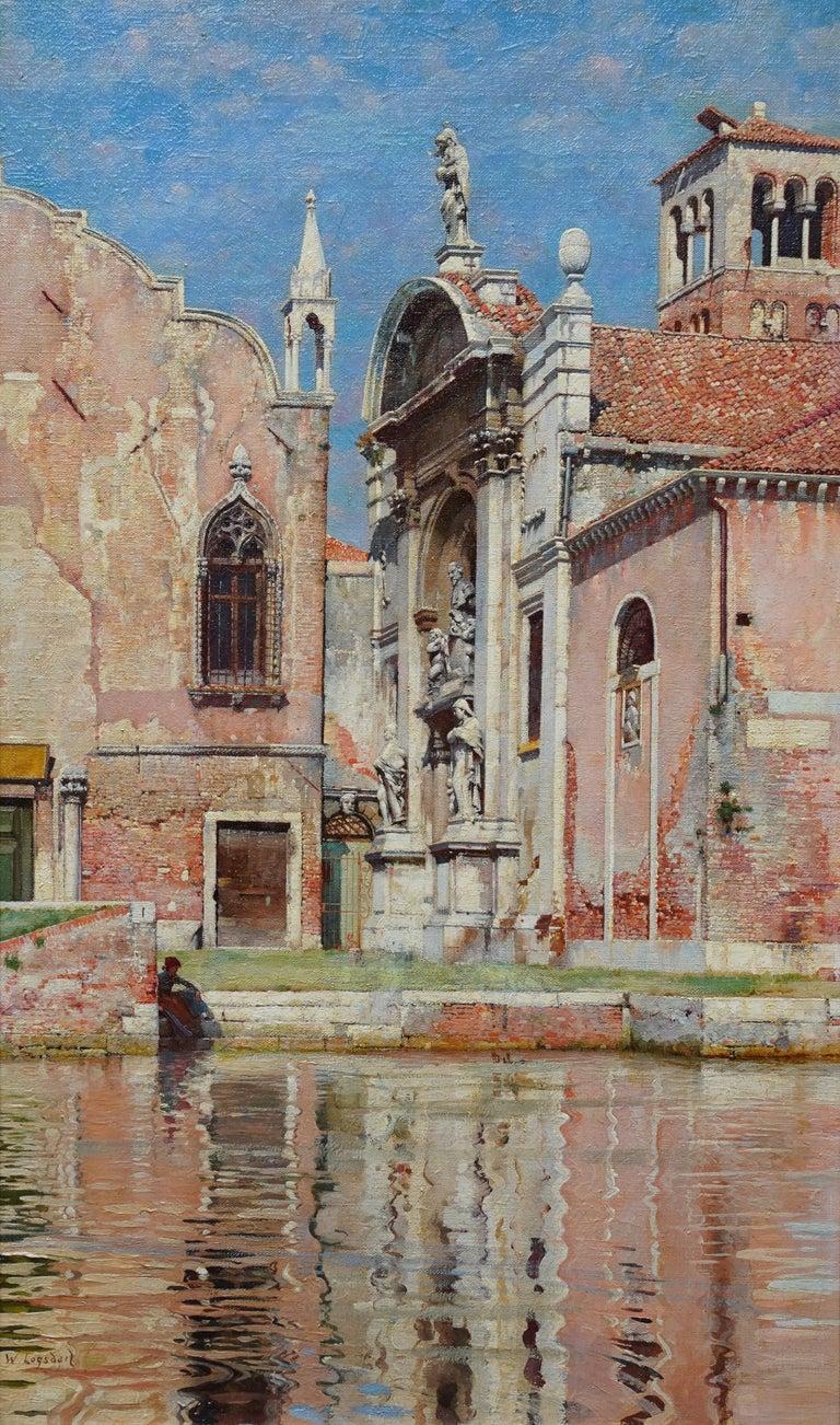 Compo de L'Abazia Venice - British Victorian art Venetian square oil painting  - Painting by William Logsdail