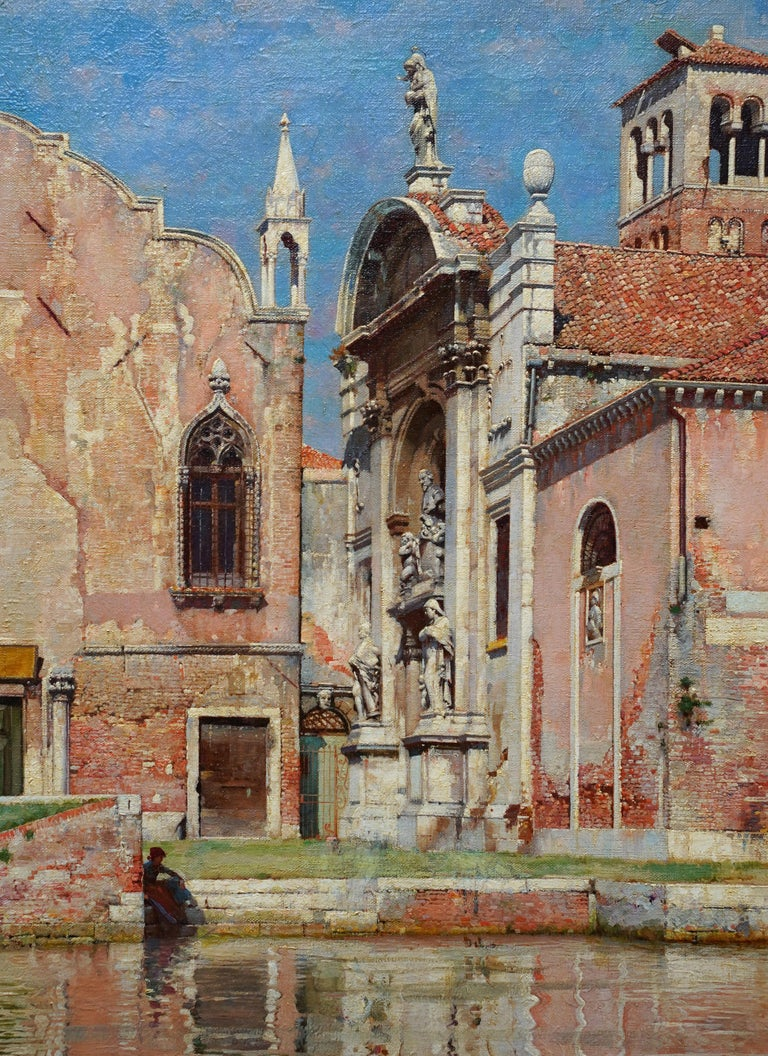 Compo de L'Abazia Venice - British Victorian art Venetian square oil painting  - Realist Painting by William Logsdail