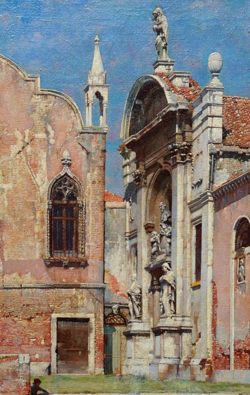Compo de L'Abazia Venice - British Victorian art Venetian square oil painting  - Brown Landscape Painting by William Logsdail