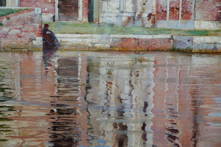 This gorgeous British 19th century Fine Art Society exhibited oil painting of Venice is by noted artist William Logsdail. It was painted circa 1885 when Logsdail visited Venice in 1880 and stayed 20 years, clearly entranced with the place. In those