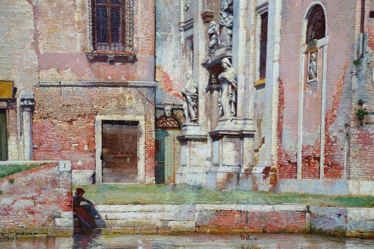 Compo de L'Abazia Venice - British Victorian art Venetian square oil painting  For Sale 1