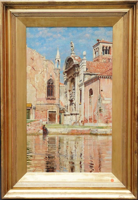 William Logsdail Landscape Painting - Compo de L'Abazia Venice - British Victorian art Venetian square oil painting