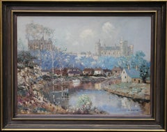 Arundel Sussex - Australian Impressionist 40's art oil painting river landscape