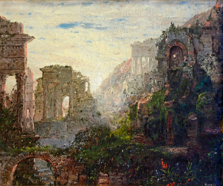 William Louis Sonntag Sr. Landscape Painting - Classical Ruins