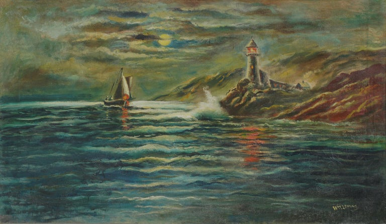 Nocturnal Pigeon Point Lighthouse - Painting by William M. Lemos