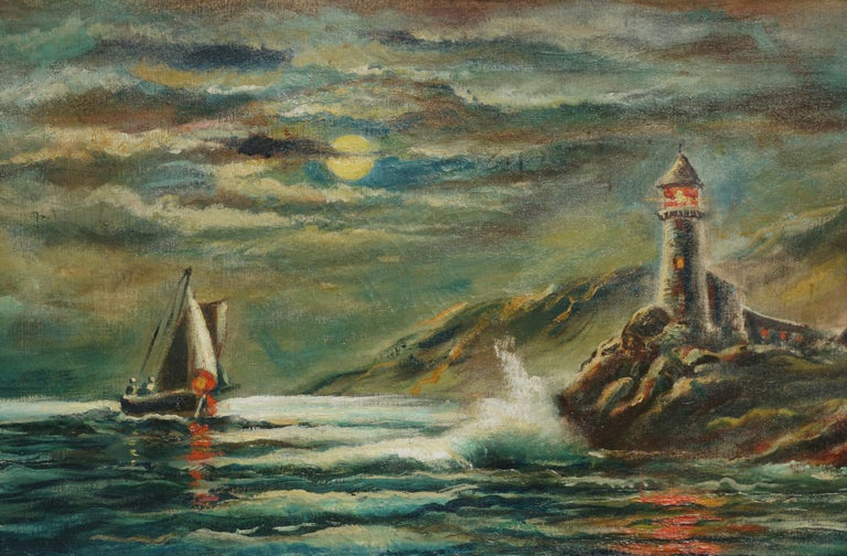 Nocturnal Pigeon Point Lighthouse - American Impressionist Painting by William M. Lemos