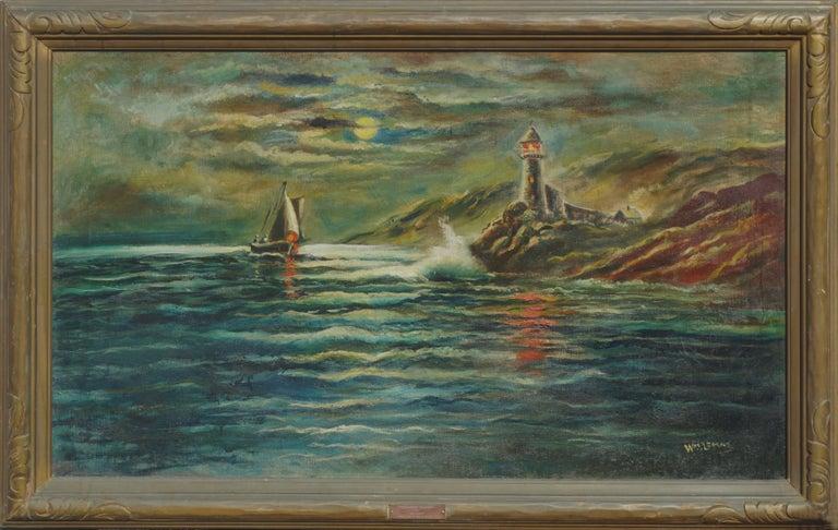 William M. Lemos Landscape Painting - Nocturnal Pigeon Point Lighthouse