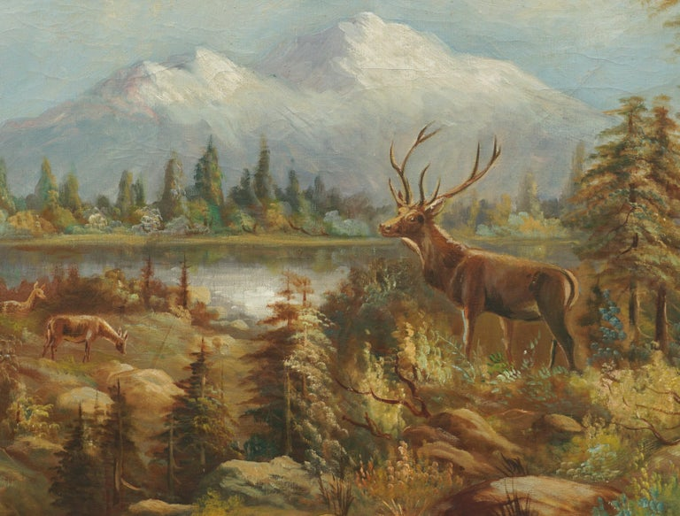 Stag and Does, Mt Hood Landscape - Painting by William M. Lemos