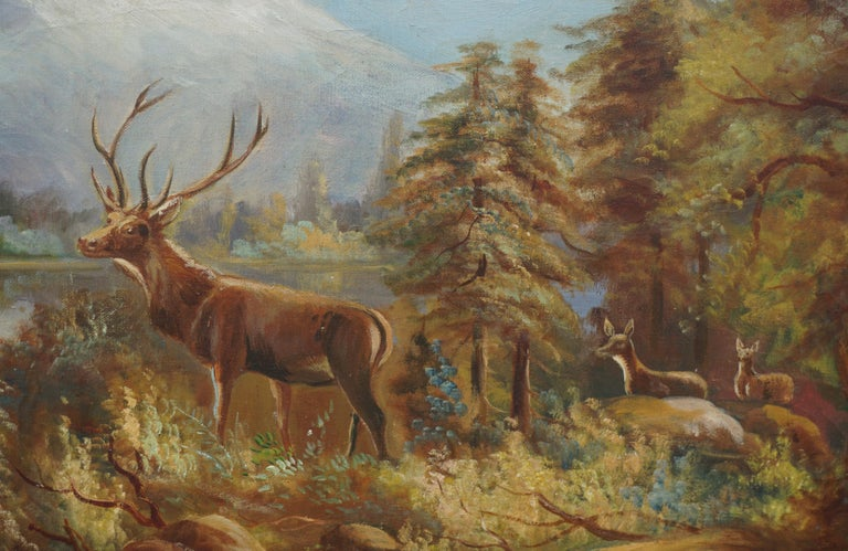 Stag and Does, Mt Hood Landscape - American Impressionist Painting by William M. Lemos