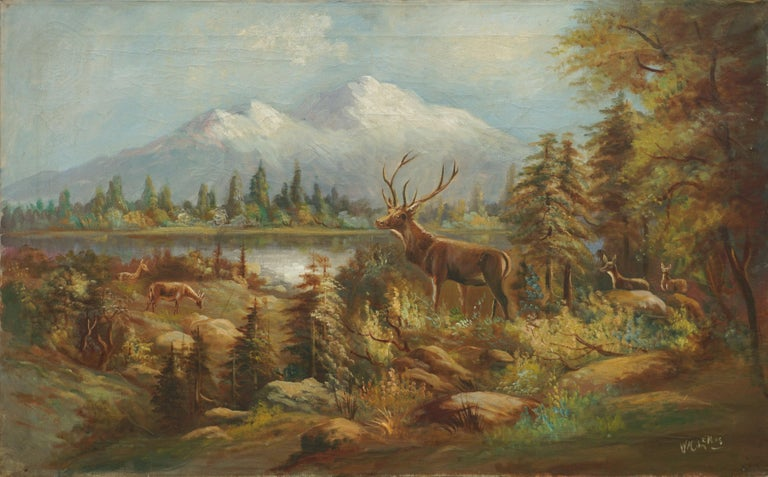 William M. Lemos Animal Painting - Stag and Does, Mt Hood Landscape