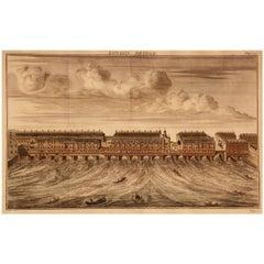 Print, Handcolored, Copperplate, Engraved, London Bridge, William Maitland, 1739