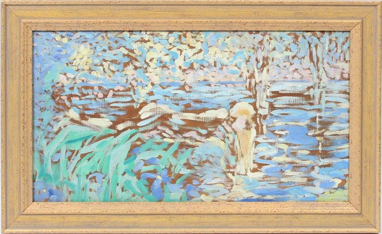 William Malherbe Landscape Painting - Antique American Impressionist Sunset Modern Landscape Fauvist Oil Painting