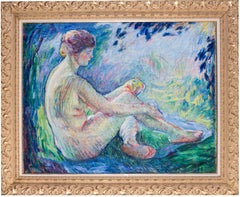 French Post Impressionist oil painting of a nude by William Malherbe