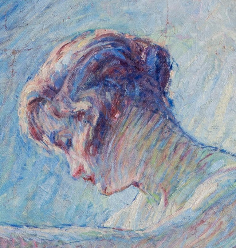 La Baigneuse, a large Impressionist painting of a bather with blue tones For Sale 1