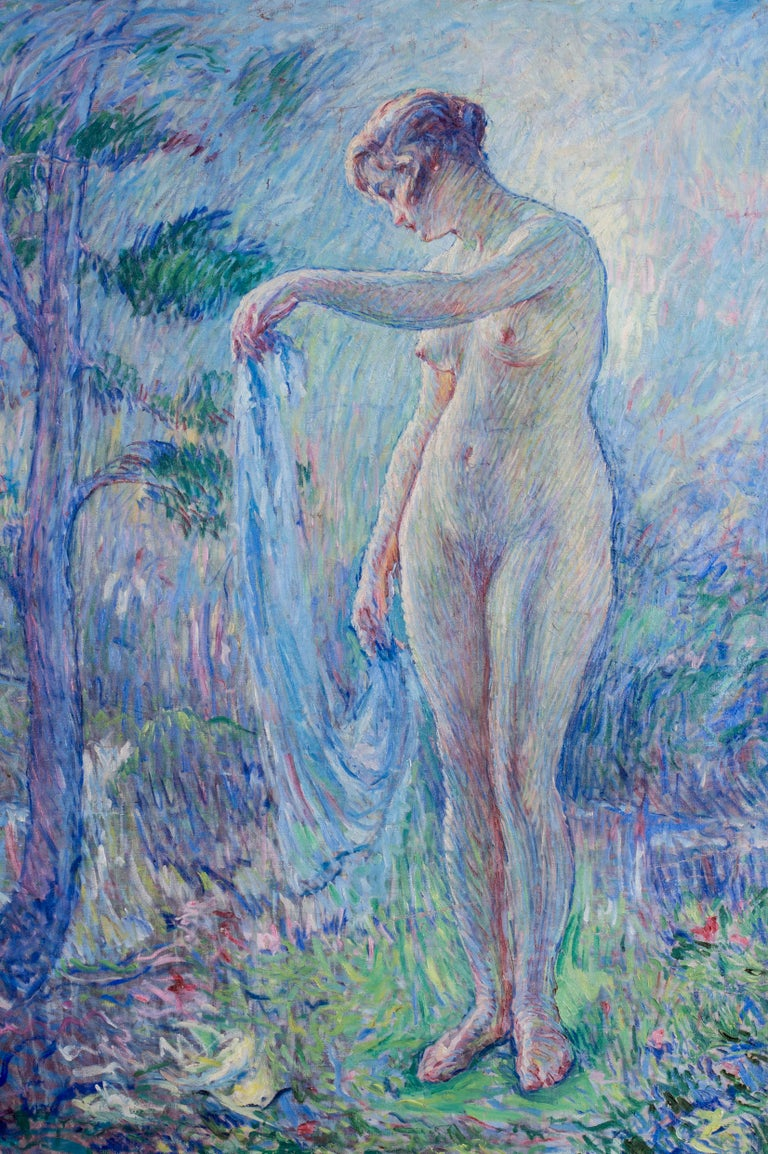 La Baigneuse, a large Impressionist painting of a bather with blue tones For Sale 3