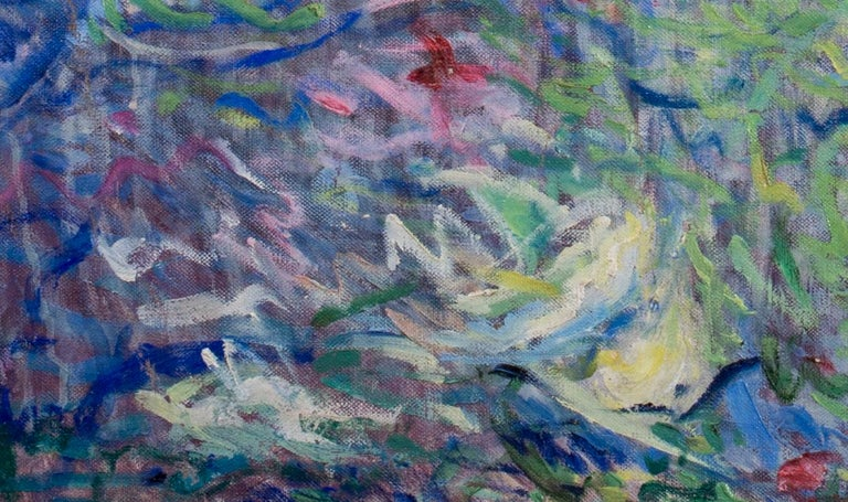 La Baigneuse, a large Impressionist painting of a bather with blue tones For Sale 4