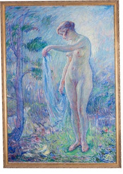Large French Post Impressionist painting of a nude with blue tones by Malherbe