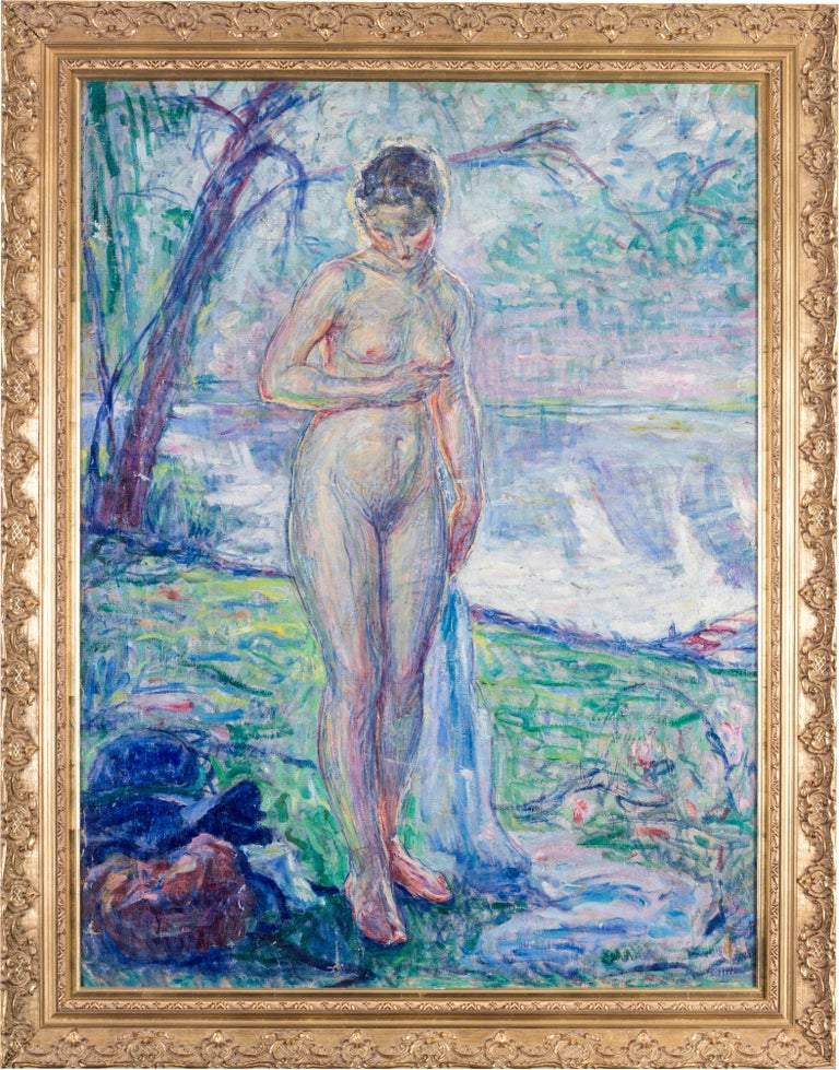 William Malherbe (French, 1884-1955) La Baigneuses au riviere Oil on canvas Signed on the reverse with studio stamp 40.1/4 x 30.1/4 in. (102.3 x 77 cm.)  William Malherbe was a French Impressionist painter born in 1884. His success came in the