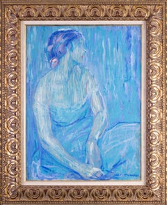 Original Impressionist oil painting of a beauty by William Malherbe, blue shades