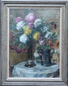 Chrysanthemums - British Victorian Impressionist art exhib floral oil painting