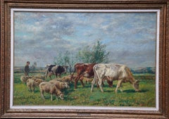 Landscape with Cattle and Sheep - British Victorian art Pastoral oil painting