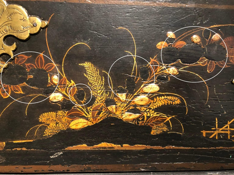 William & Mary Chest on Stand / Black Lacquer and Gilt Chinoiserie Decoration For Sale 12