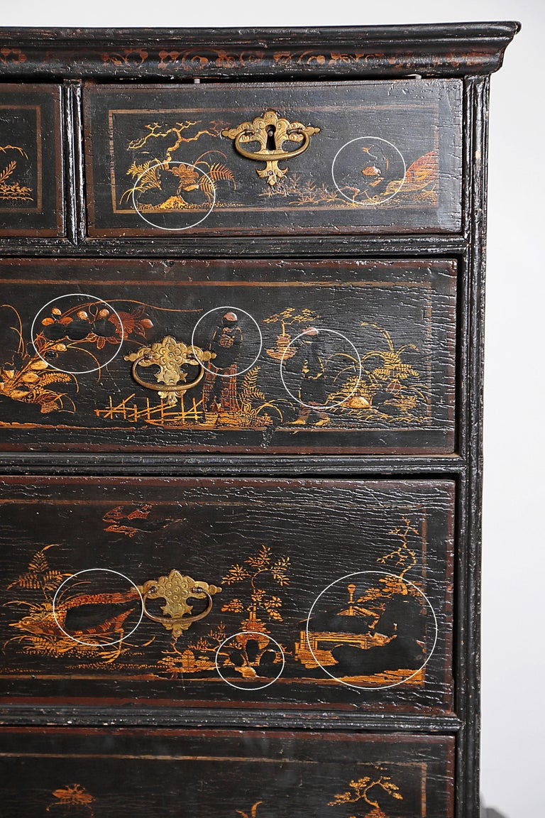 William & Mary Chest on Stand / Black Lacquer and Gilt Chinoiserie Decoration For Sale 2