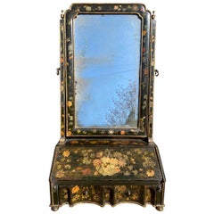 William & Mary Japanned Painted Dressing Table Mirror