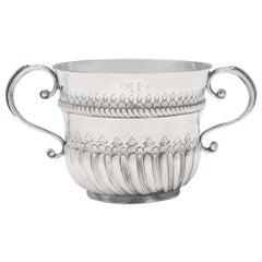 William & Mary Period Antique Brittania Standard Silver Porringer from 1698