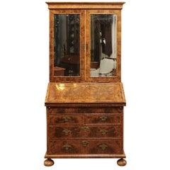 William & Mary Style Burled Walnut English Bureau Bookcase, Early 18th Century