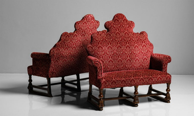 Carved William & Mary Style Sofas, England, circa 1890 For Sale