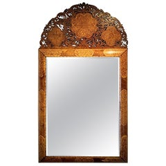 William & Mary Walnut and Floral Marquetry mirror in the Manner of Gerrit Jensen